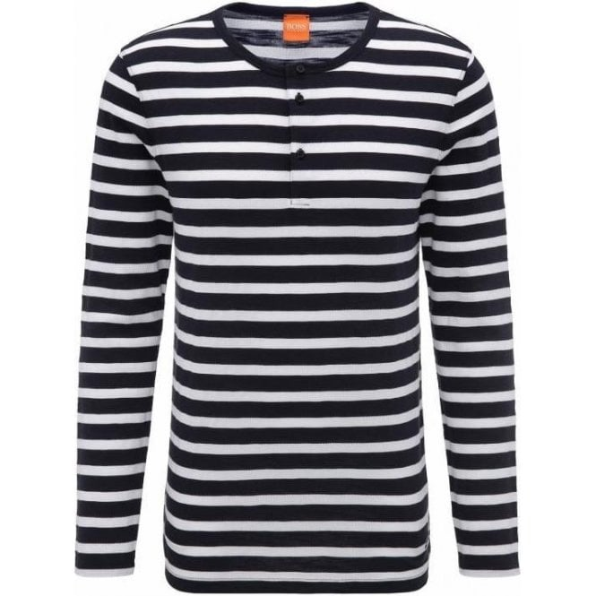 Hugo Boss 'Translation' Regular Fit Henley Long-Sleeve Dark Blue Striped T-Shirt 50369462
