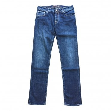 Jacob Cohen Blue Denim Jeans With Grey Badge