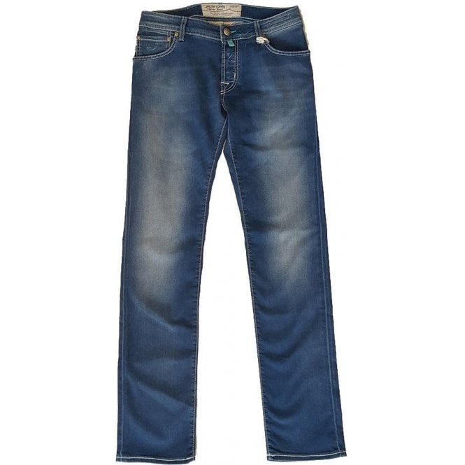 Jacob Cohen Blue Denim Slim-Fit Jeans With Horsehide Back Belt Loop PW622 COMF 0515-002