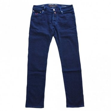 Jacob Cohen Dark Blue Garment Hand-Dyed Jeans With Dark Blue Badge