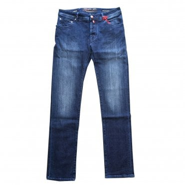 Jacob Cohen Dark Blue Wash Hand-Dyed Jeans With White Badge