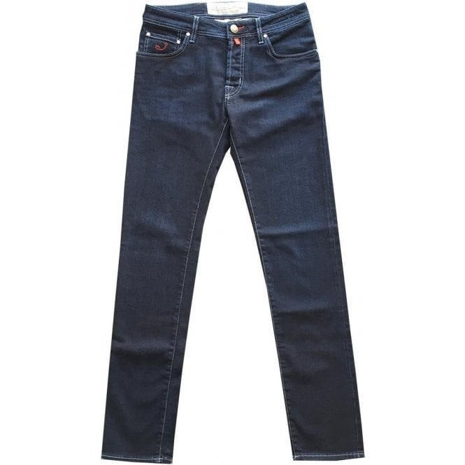 Jacob Cohen Dark Denim Jeans with Red Horsehide Back Belt Loop PW622 COMF 00702 W1 001