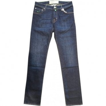 Jacob Cohen Dark Denim Stretch Cotton Jeans With Green Detailing PW622COMF 0919-001