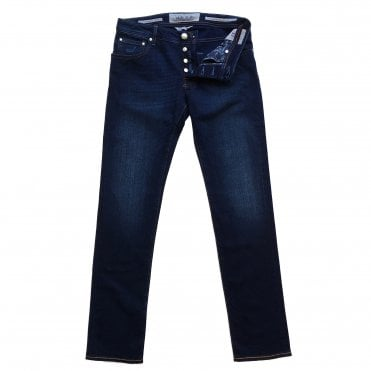 Jacob Cohen Dark Wash Denim Jean with Orange Badge