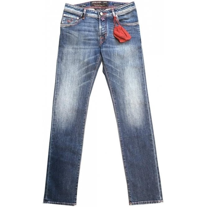 Jacob Cohen Denim Jeans With Red Vegetable-Dyed Leather Back Belt Loop J622 COMF 0676-002