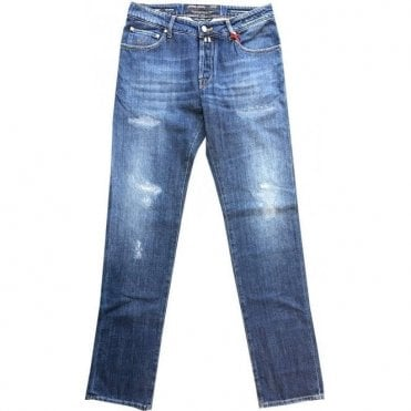 Jacob Cohen Denim Ripped Jeans With Various Back Belt Loops NICK 0953-002