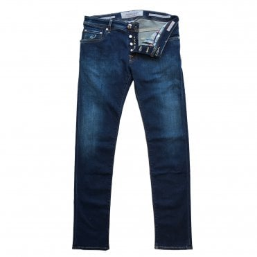 Jacob Cohen Denim Wash Jean with Tan Badge