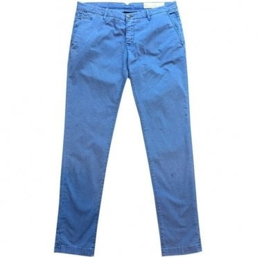 Jacob Cohen French Blue Brushed Cotton Chinos BOBBY VINT COMF 0029-857