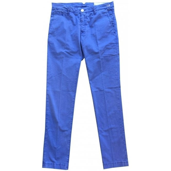 Jacob Cohen French Blue Chinos With Cream Horsehide Back Belt Patch Bobby Vint COMF 6510-861