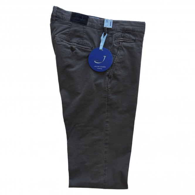 Jacob Cohen Grey Chino with Grey Badge Bobby Bo Stitch