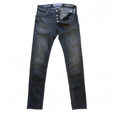 Jacob Cohen Grey Wash Denim Jean with Black Leather Badge