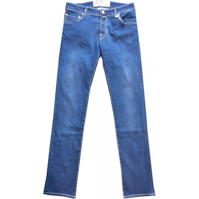 Jacob Cohen Light Blue Jeans With Light Brown Horsehide Back Belt Loop PW622 COMF 0515-001