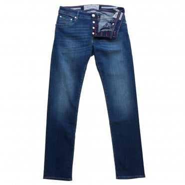 Jacob Cohen Mid Wash Denim Jean with Red Badge