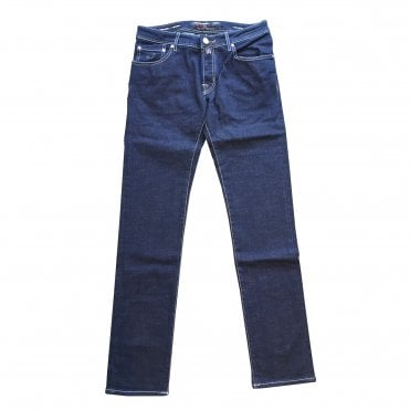 Jacob Cohen Navy Denim Jeans With Grey Belt Loop