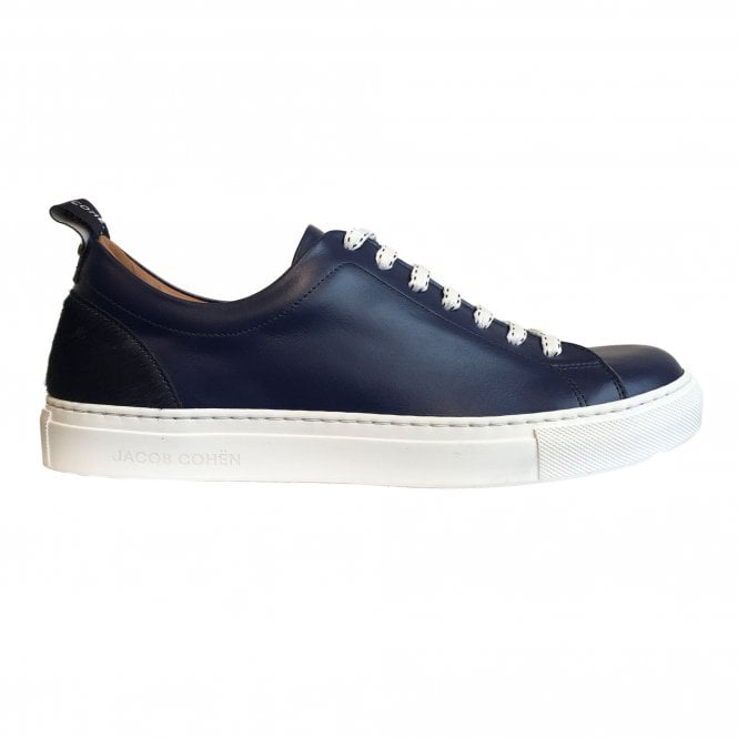 Jacob Cohen Navy Leather Trainer