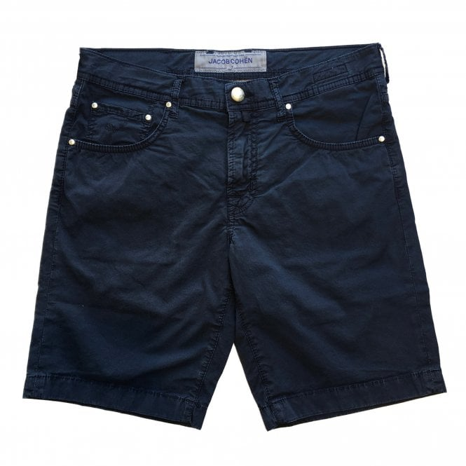 Jacob Cohen Navy Shorts With Navy Horsehide Back Belt Loop
