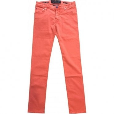Jacob Cohen Salmon Pink Stretch Jeans With Navy Horsehide Back Belt Loop J622 BR COMF 0566-661