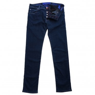 Jacob Cohen Special Edition Dark Wash Denim Jean with Burgundy Leather Badge