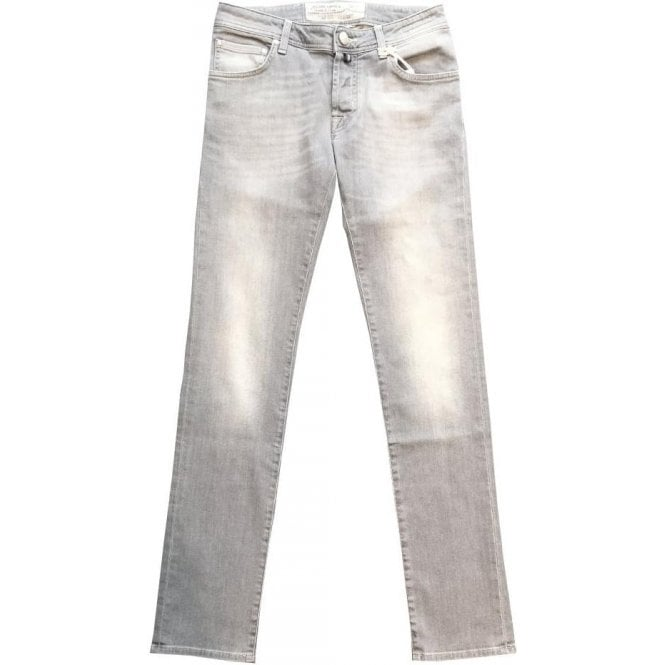 Jacob Cohen Stone Grey Jeans With Light Blue Horsehide Back Belt Loop PW622 COMF 7729-002