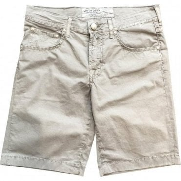 Jacob Cohen Stone Grey Shorts With Silver Horsehide Back Belt Loop PW6636 6510 915