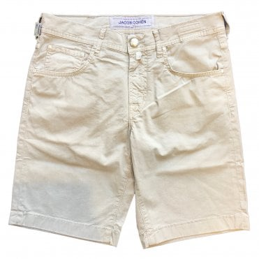 Jacob Cohen Stone Shorts With Stone Horsehide Back Belt Loop