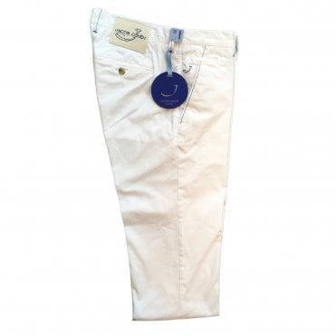 Jacob Cohen White Chino with White Badge Bobby Bo Stitch