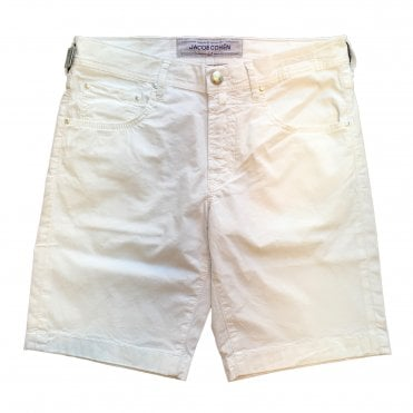 Jacob Cohen White Shorts With White Horsehide Back Belt Loop