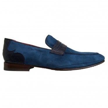 Jeffery West Cobalt Blue Suede Apron Front Loafer