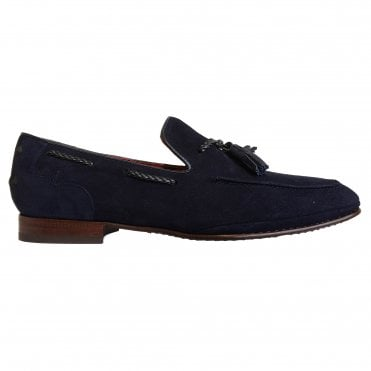 Jeffery West Navy Blue Suede Tasselled Loafer