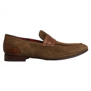 Jeffery West Rum Brown Suede Apron Front Loafer