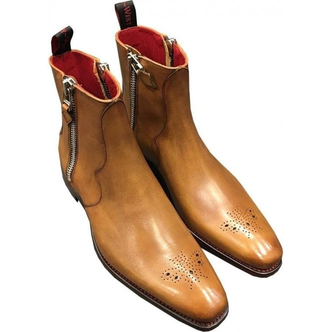 Jeffery West 'Vamp Hunger' Mahogany Burnish Calf Leather Tan Chelsea Boots