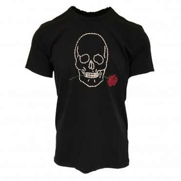 John Varvatos Black Skull & Rose T-shirt
