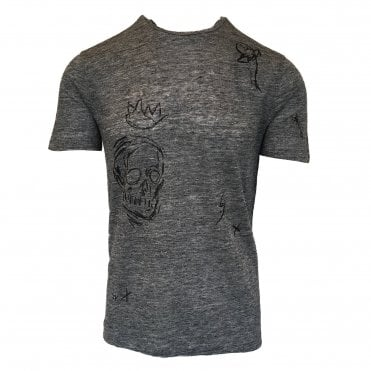 John Varvatos Grey Linen Printed T-shirt
