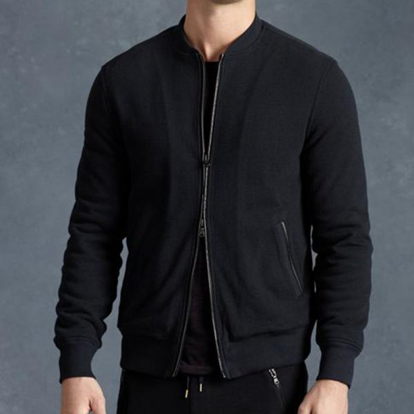 John Varvatos Fleece Lined Baseball Jacket in Black K2091R3B-APS5B