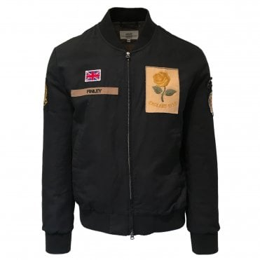 Kent & Curwen Black Washed Rose Patch Bomber Jacket
