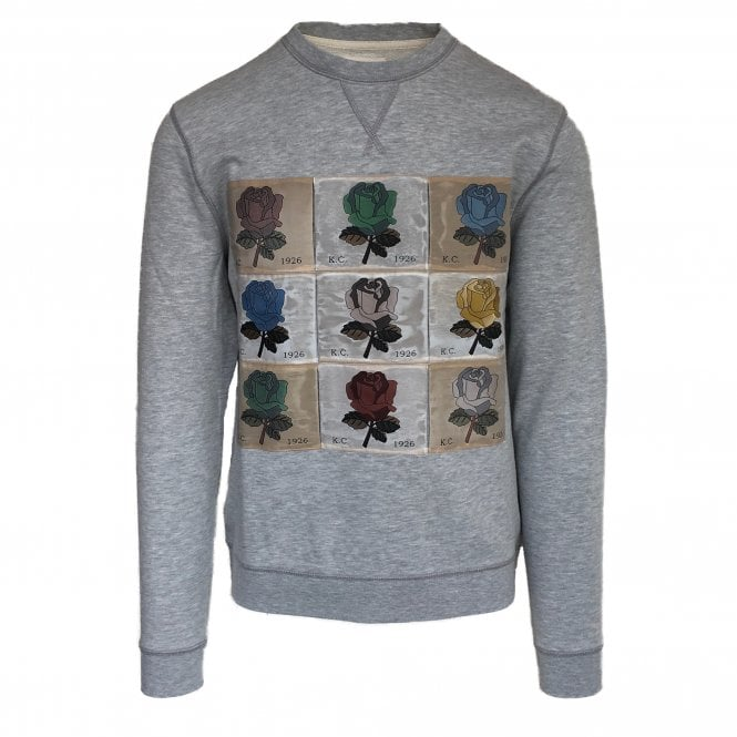 Kent & Curwen Grey Rose Patches Sweatshirt