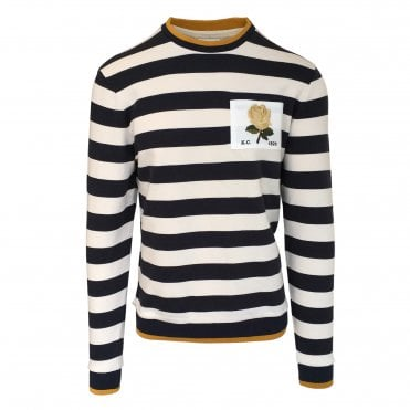 Kent & Curwen White and Navy Striped Sweatshirt