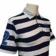 La Martina Striped Polo Shirt in Navy and Cream. BMP328