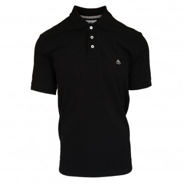 Moose Knuckles Black Short Sleeve Polo