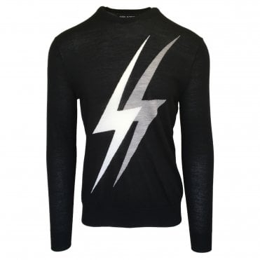 Neil Barrett Black 'Double Thunderbolt' Crewneck Jumper