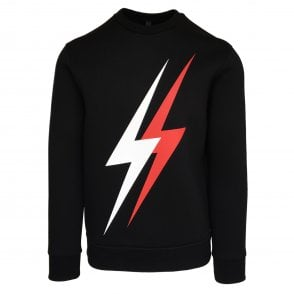 Neil Barrett Black Double Thunderbolt Crewneck Sweatshirt