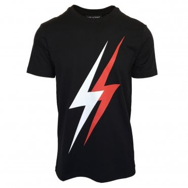 Neil Barrett Black 'Double Thunderbolt' Crewneck T-Shirt