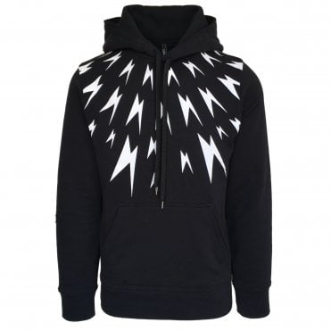 Neil Barrett Black Fair-Isle Meteorite Hooded Sweatshirt