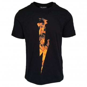 Neil Barrett Black Flame Thunderbolt Crewneck T-Shirt