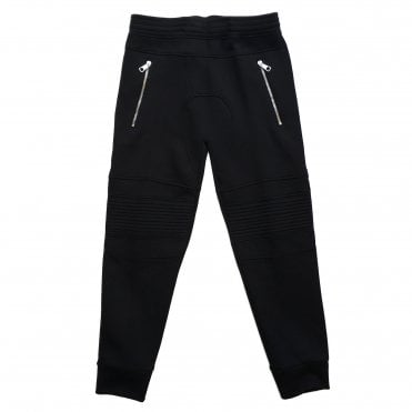 Neil Barrett Black Motorcross Bonded Jogging Bottoms with Logo Detail