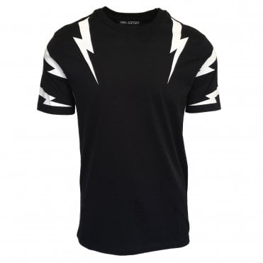 Neil Barrett Black 'Tiger Bolt' Crewneck T-Shirt