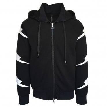 Neil Barrett Black 'Tiger Bolt' Hoodie