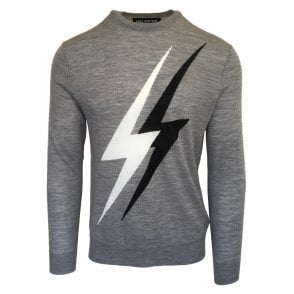 Neil Barrett Grey 'Double Thunderbolt' Crewneck Jumper