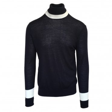 Neil Barrett Navy Contrast Band Turtle Neck Jumper