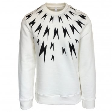 Neil Barrett White Fair-Isle Meteorite Crewneck Sweatshirt